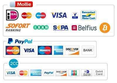 Veilig betalen met uw eigen bank of betaalvoorkeur via Mollie